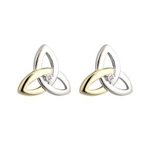 10K Gold Sterling Silver Diamond Irish Trinity Knot Stud Earrings