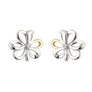 10K Gold Sterling Silver Diamond Shamrock Stud Earrings