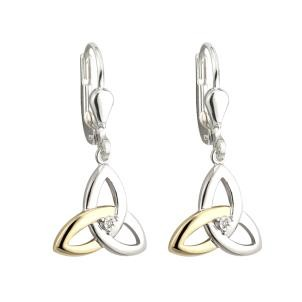 10K Gold Sterling Silver Diamond Trinity Irish Earrings