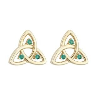 10k Yellow Gold Emerald Irish Trinity Knot Earrings