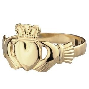 10K Yellow Gold Mens Irish Claddagh Ring