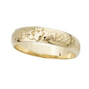 14k Gold Celtic Claddagh Mens Irish Wedding Band