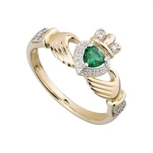 14k Gold Diamond and Emerald Ladies Claddagh Ring