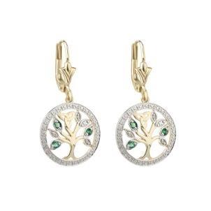 14k Gold Diamond Emerald Tree Of Life Irish Earrings