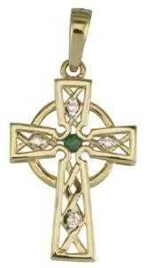 14k Gold Diamonds and Emerald Irish Celtic Cross Irish Charm