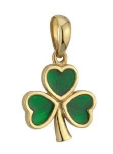 14k Gold Green Enamel Large Shamrock Irish Charm