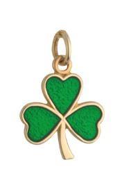 14k Gold Green Enamel Small Shamrock Irish Charm