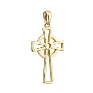 14k Gold Open Celtic Cross Irish Charm
