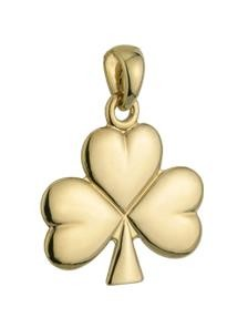 14k Gold Shiny Shamrock Irish Charm