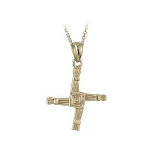 14k Gold St Brigids Cross Necklace Medium