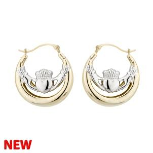 14k Gold Two tone Irish Claddagh Hoop Earrings Small
