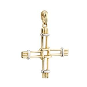 14k Gold Two Tone St Brigids Cross Irish Charm