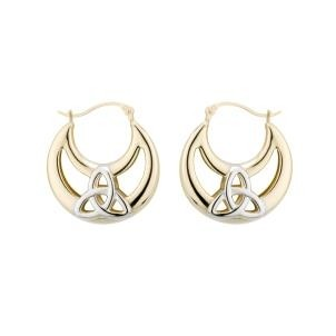 14k Gold Two tone Trinity Knot Hoop Irish Earrings Large