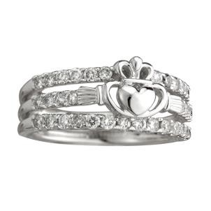 14k Gold White Irish Claddagh Dress Ring Diamonds