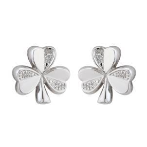 14k White Gold and Diamonds Irish Shamrock Stud Earrings