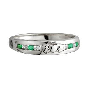 14k White Gold Diamond and Emerald Irish Claddagh Eternity Ring