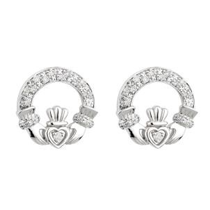 14K White Gold Diamond Irish Claddagh Earrings