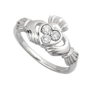 14k White Gold Diamond Irish Claddagh Ring