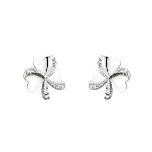 14K White Gold Diamond Irish Shamrock Earrings