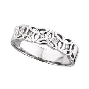 14k White Gold Diamonds Irish Trinity Knot Ring