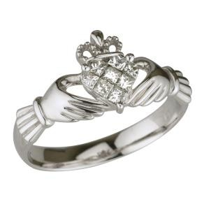 14k White Gold Diamonds Ladies Claddagh Ring