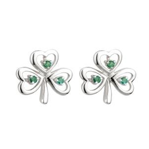 14K White Gold Emerald Shamrock Earrings