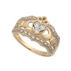 14k Yellow Gold Ladies Ornate Claddagh Ring