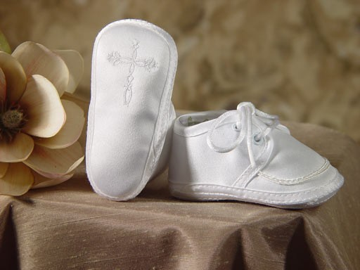Boys Irish Celtic Cross Baptism Booties