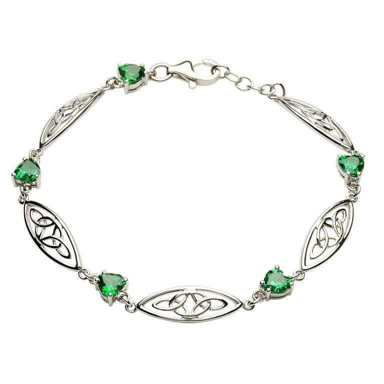 Silver Celtic Green CZ Bracelet