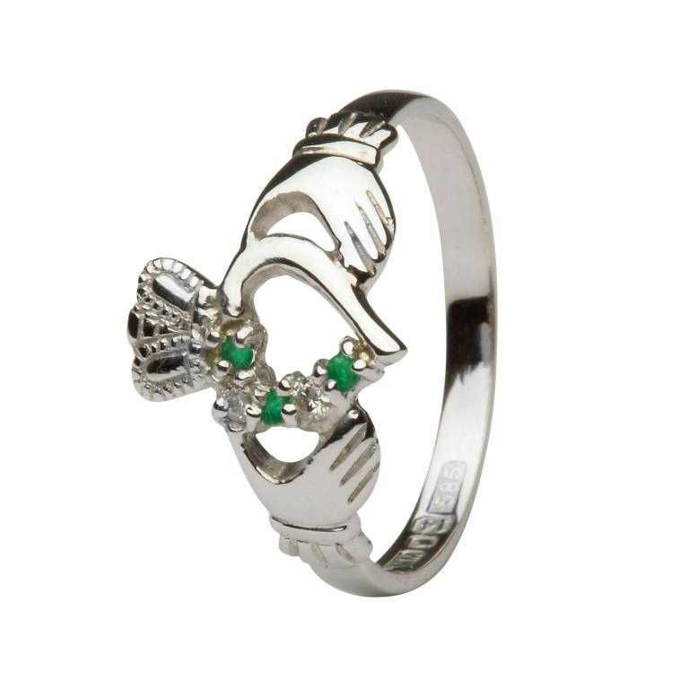 Emerald And Diamond Part Set Gold Claddagh Ring