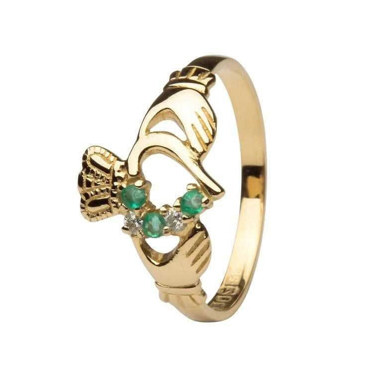 Emerald And Diamond Part Set Yellow Gold Claddagh Ring