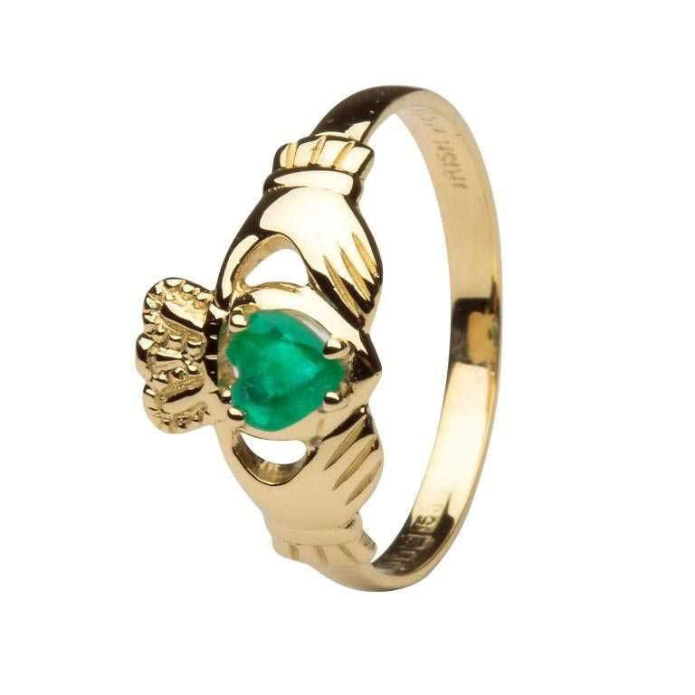 Claddagh Heart Emerald Set Engagement Ring