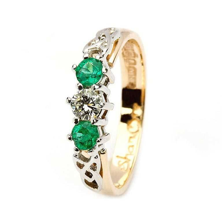 Emerald and diamond celtic trinity 14k yellow and white gold 3 stone