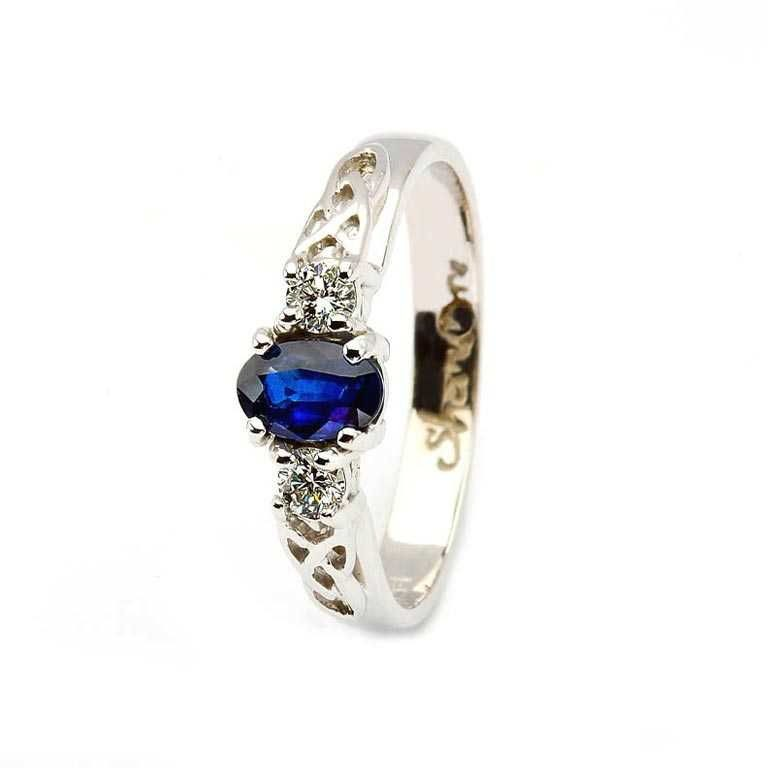 Oval Sapphire and Diamond Celtic Trinity 14K White Gold 3 Stone