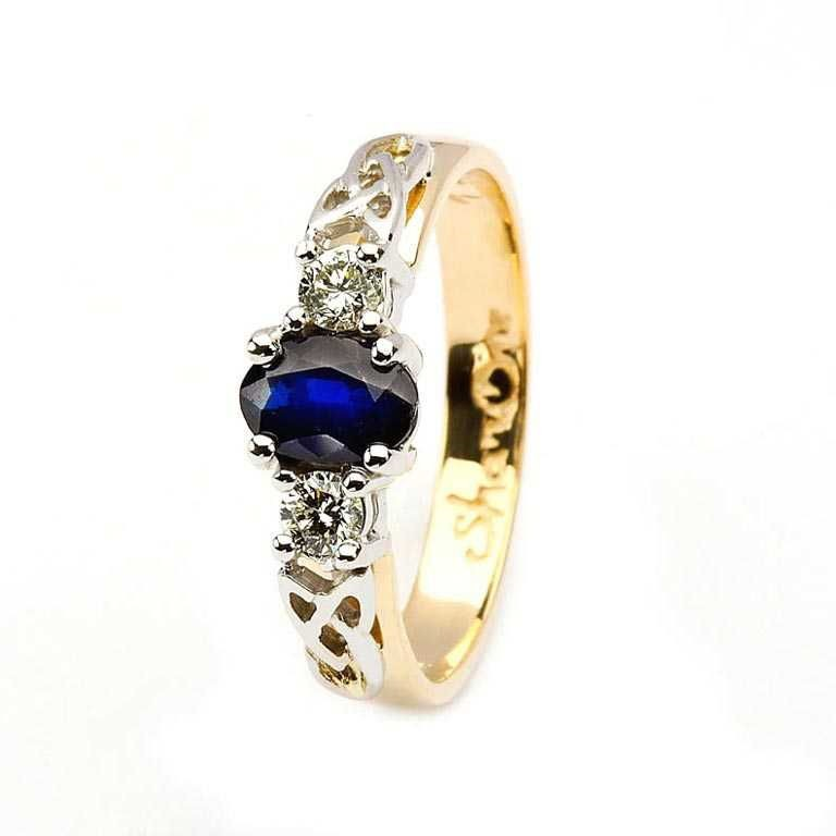 Oval Sapphire and Diamond Celtic Trinity 14K Yellow and White Gold 3 Stone