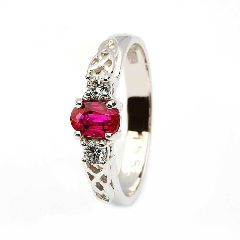 Oval Ruby and Diamond Celtic Trinity Yellow and White Gold 3 Stone