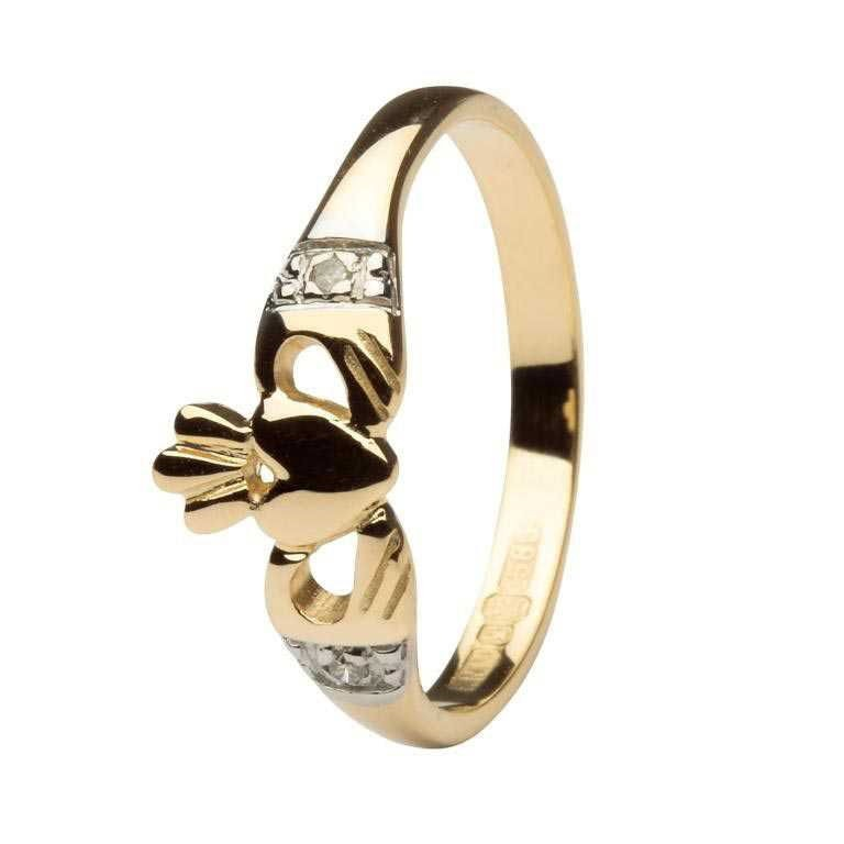 Gold Gold Claddagh Engagement Ring with Diamond set cuffs