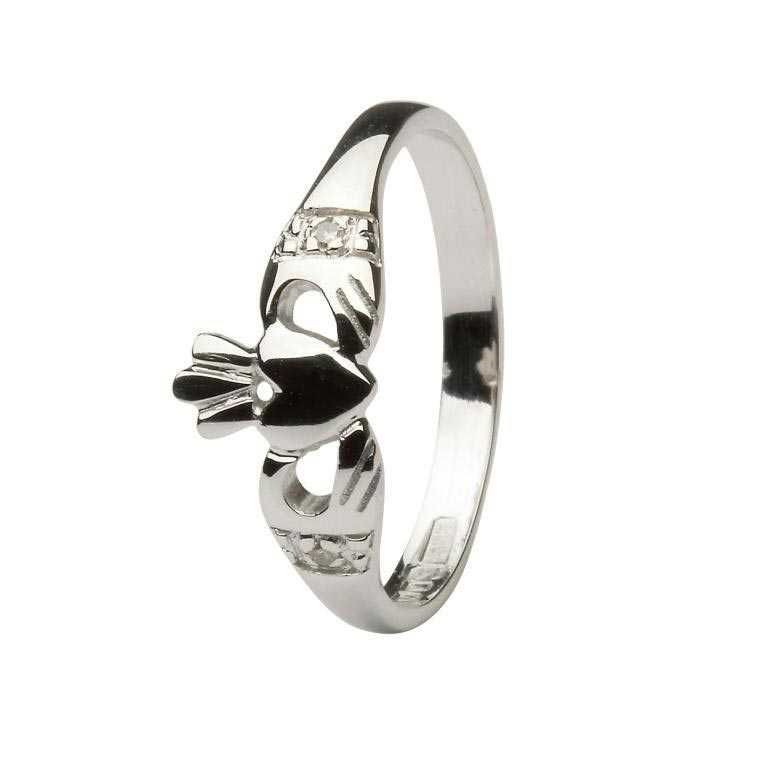 Claddagh ring with Diamond set cuffs White Gold