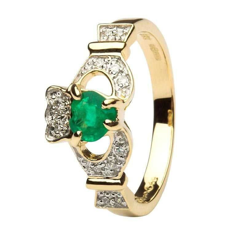 Ladies Claddagh Emerald And Diamond Engagement  Set