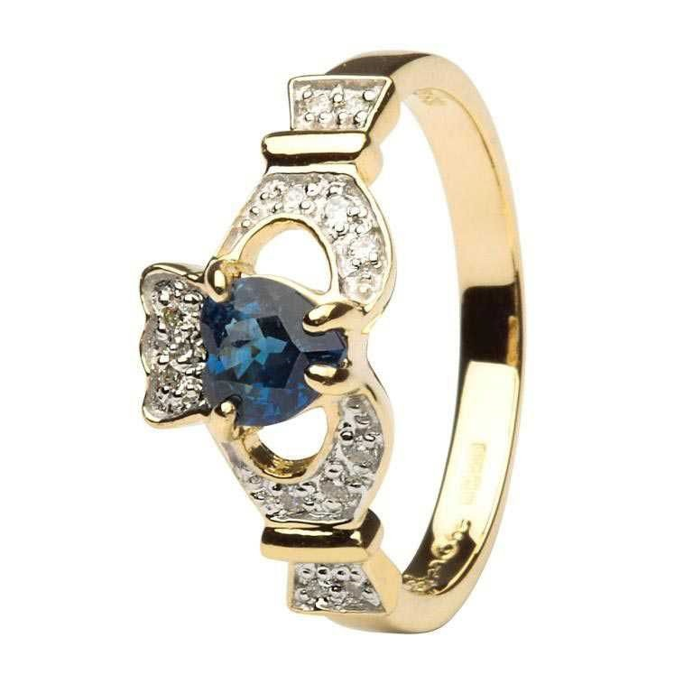Ladies Claddagh Sapphire And Diamond Engagement Ring