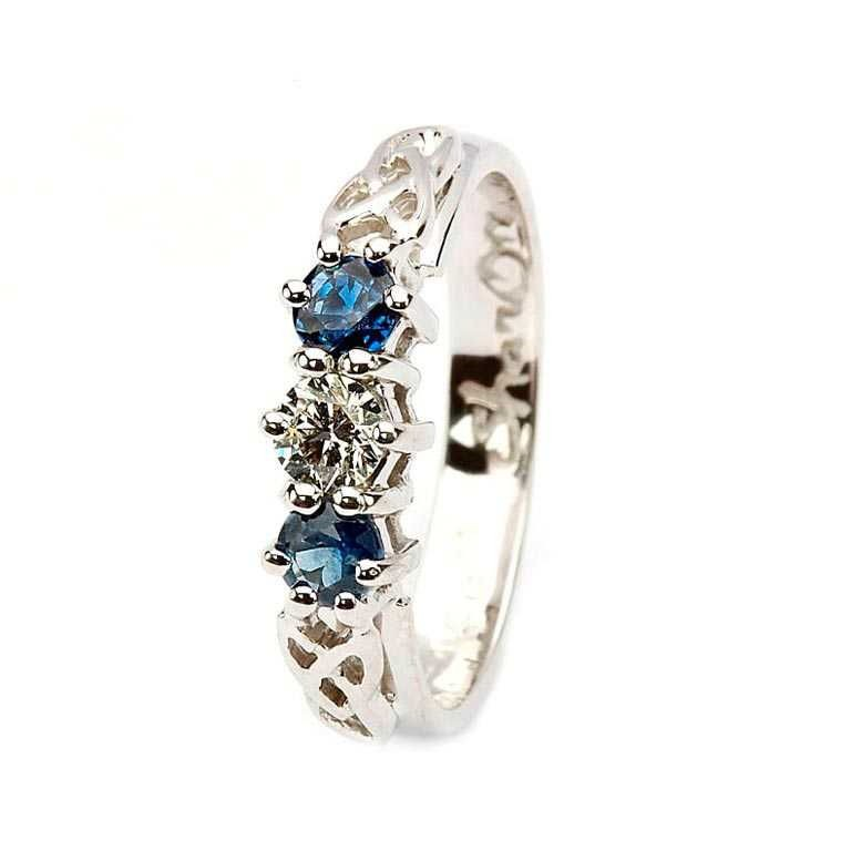 Sapphire and diamond celtic ring 14k white gold 3 stone