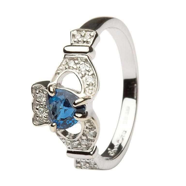 Ladies Claddagh Sapphire And Diamond Engagement Ring White Gold