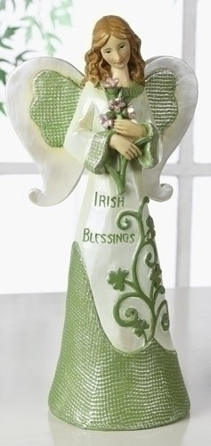 Beautiful Irish Angel Figurine with Shamrocks