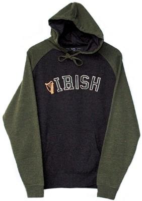 Two Tone Irish Harp Hooded Irish Sweatshirt