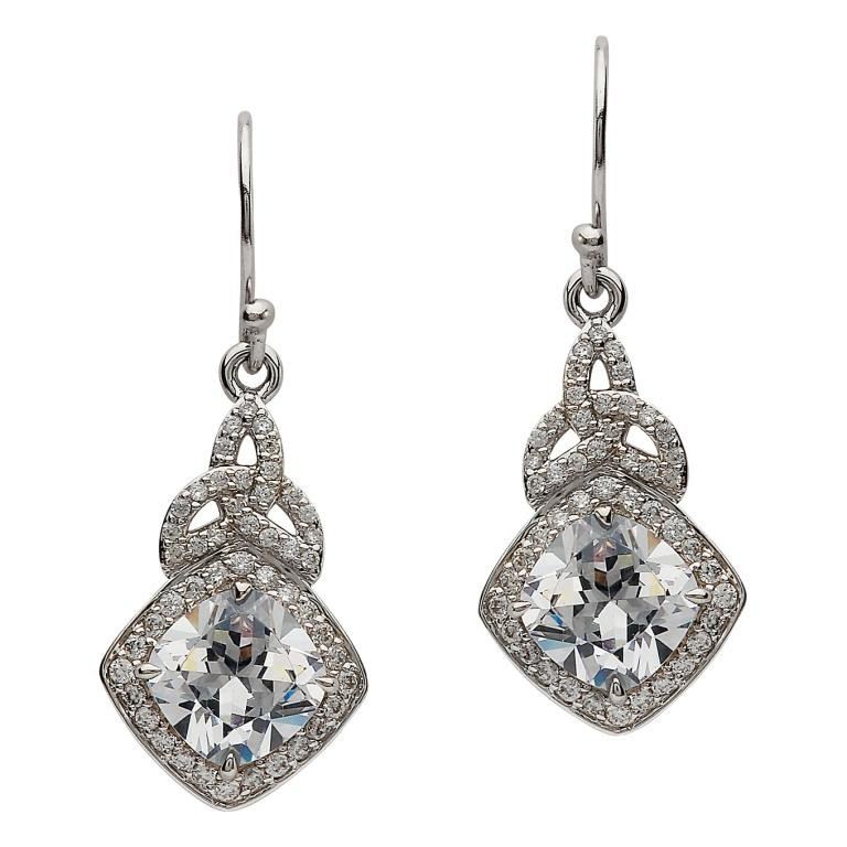 Trinity Knot  CZ Halo Earrings