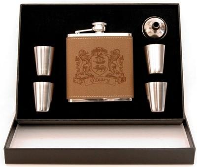 Irish Coat-of-Arms Leather Flask 5 pc Box Set