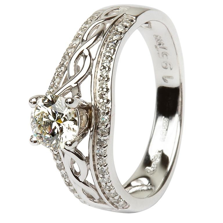 Irish Wedding Rings.14k White Gold Pave Set Diamond Ladies Irish Engagement Ring With Celtic Knot