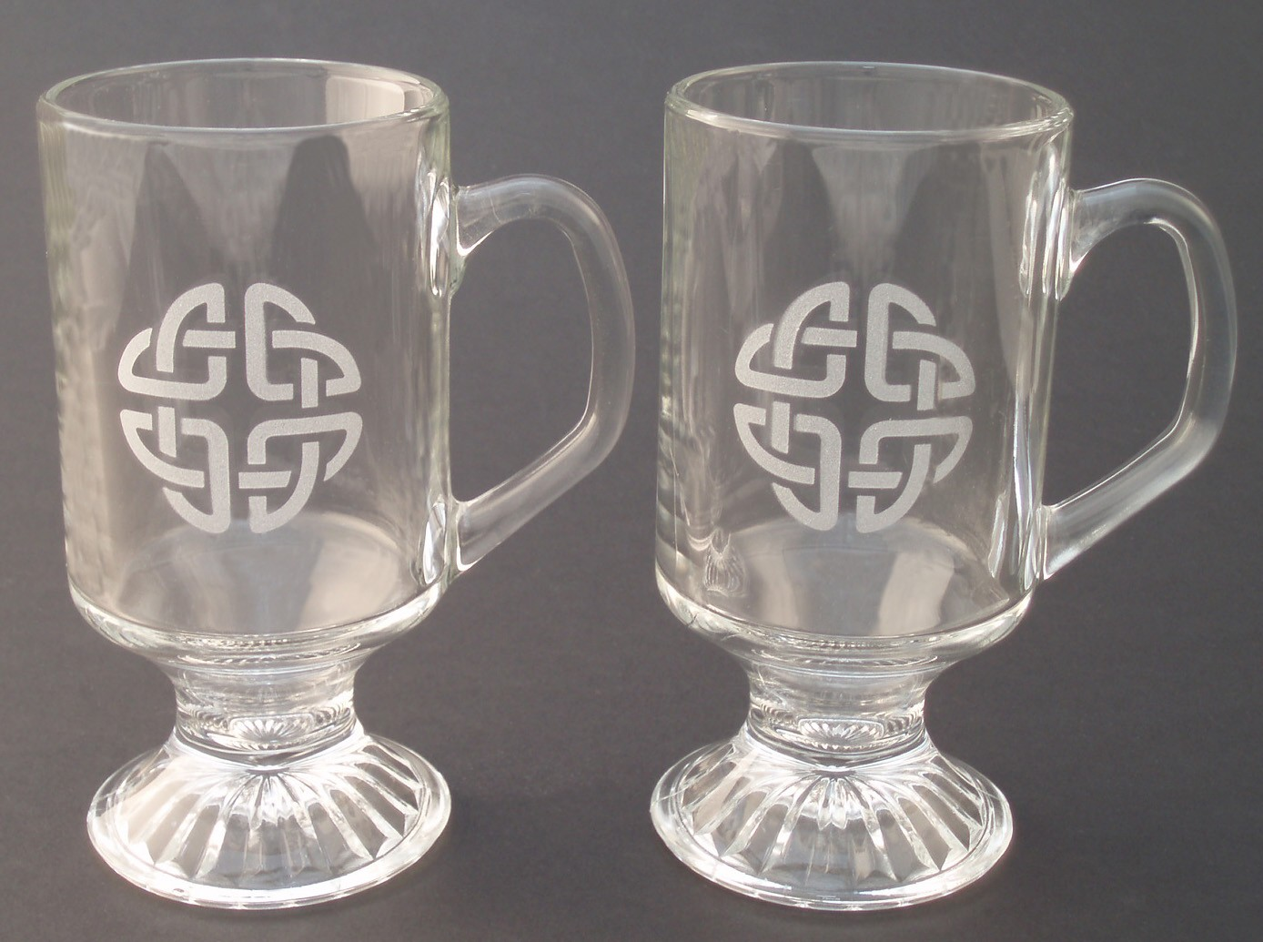 Irish Coffee Glasses Pair Etched Irish Celtic Knot
