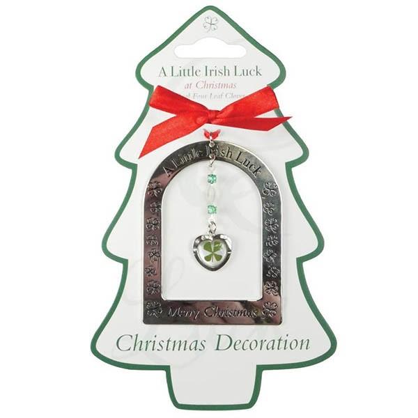 A Little Irish Luck Four Leaf Clover Heart Christmas Ornament
