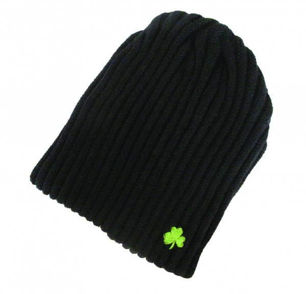 Ribknit Black Beanie Hat with Shamrock